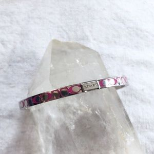 Coach Silver and Pink bangle CC Bracelet